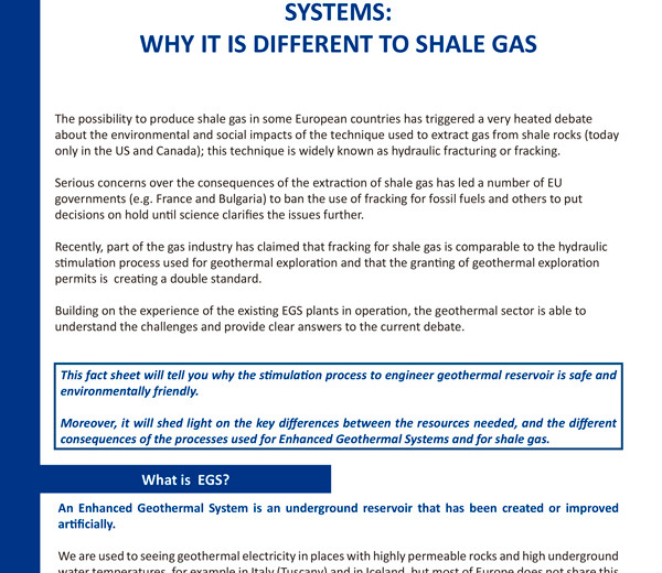 Fact Sheet on Enhanced Geothermal Systems