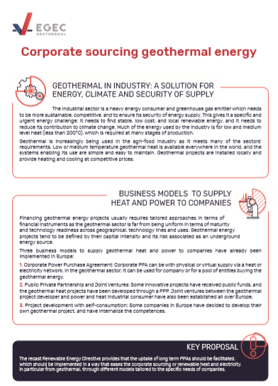 Corporate sourcing geothermal energy
